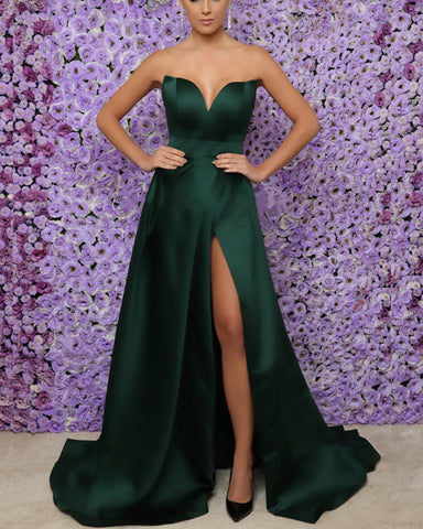 Image of Long-Dark-Green-Prom-Dresses-Split-Evening-Gowns