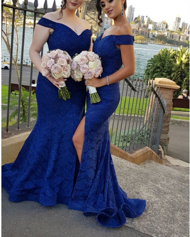 Image of Royal-Blue-Bridesmaid-Dresses-Lace-Formal-Evening-Gowns