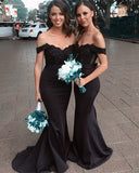 Long-Mermaid-Black-Lace-Appliques-Bridesmaid-Dress-Off-The-Shoulder-Formal-Gowns