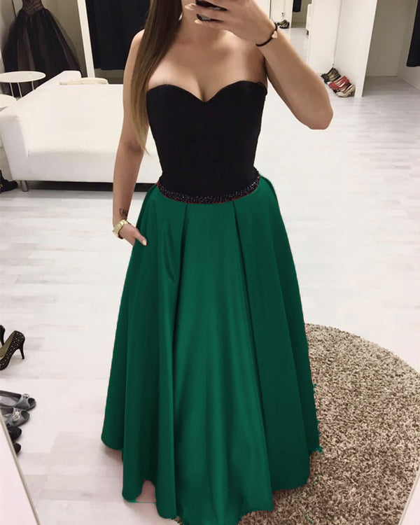 Black Sweetheart Beaded Sashes Floor Length Satin Evening Dresses