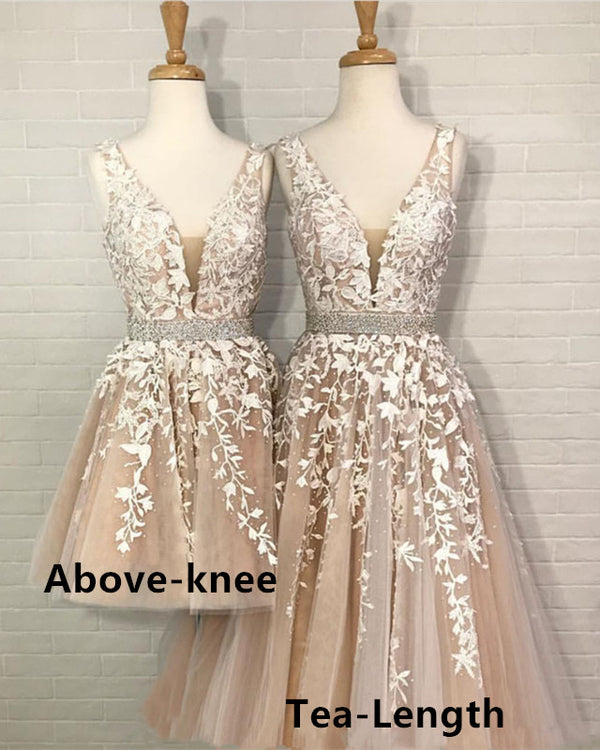 Tea-Length-Evening-Dresses-Short-Champagne-Formal-Dress