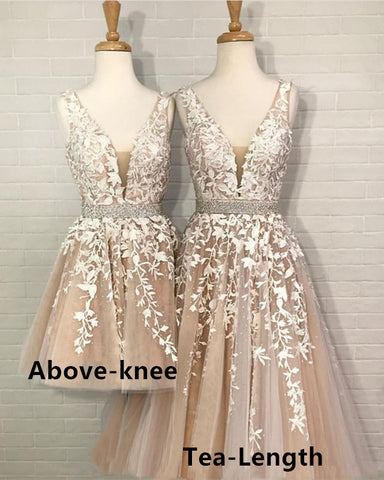 Image of Tea-Length-Evening-Dresses-Short-Champagne-Formal-Dress