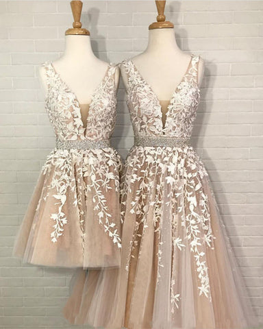 Image of Lace-Prom-Dresses-V-neck-Embroidery-Party-Gowns