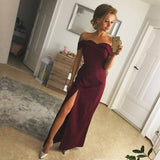 Sexy Off The Shoulder Long Satin Prom Dresses 2018 Slit Evening Gowns