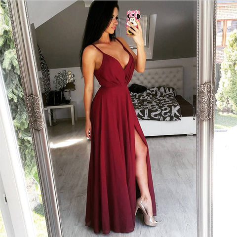 Image of Long Chiffon V-Neck Prom Dresses Slit Evening Gowns