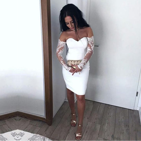 Image of Sexy Off The Shoulder Sheath Cocktail Dresses Lace Long Sleeves Homecoming Dress