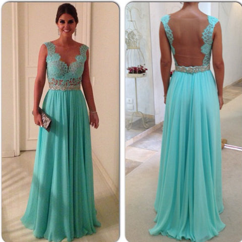 Image of Elegant Lace Appliques Nude Back Chiffon Prom Evening Dresses Long 2017