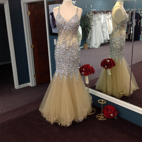 Image of Gorgeous Sequins Beaded Mermaid Prom Dresses 2017 Sexy