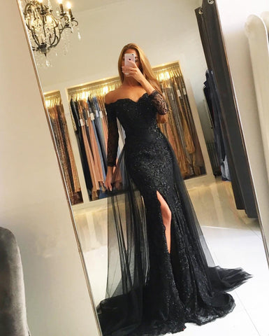 f3550a111749 Modest Prom Dresses With Sleeves 2019 Lace Mermaid Evening Gowns ...