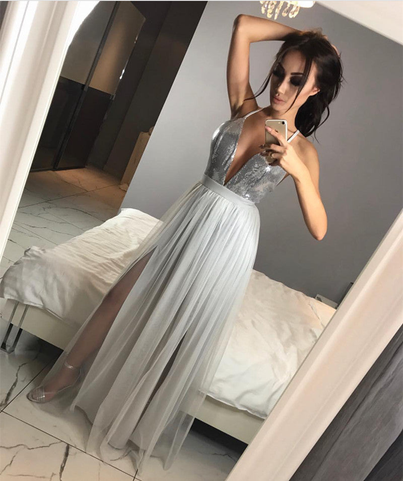 Sparkly Sequins Plunge V-neck Tulle Long Split Prom Dresses 2018