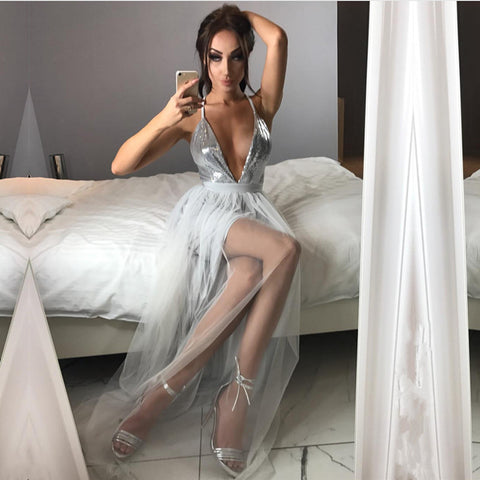 Image of Sparkly Sequins Plunge V-neck Tulle Long Split Prom Dresses 2018
