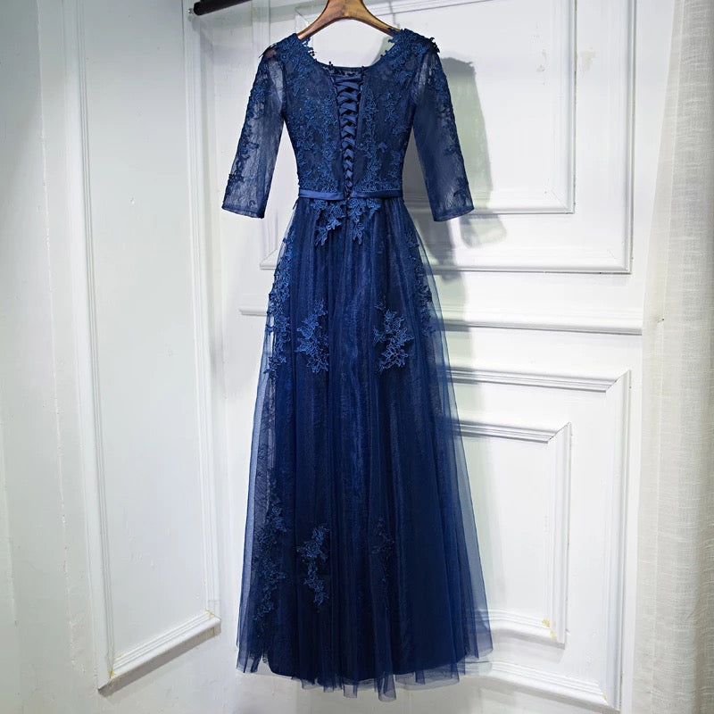 Elegant Lace Appliques Tulle Navy Blue Bridesmaid Dresses With Sleeves