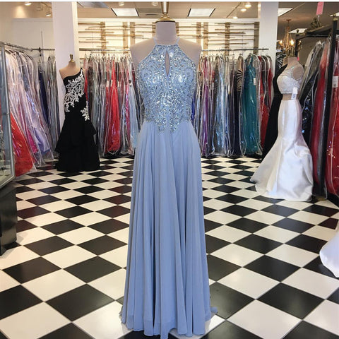 Image of Long Silver Chiffon Prom Dresses Halter Evening Gowns 2017 New Arrival