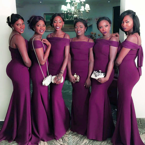 Sexy Off The Shoulder Long Burgundy Mermaid Bridesmaid Dresses