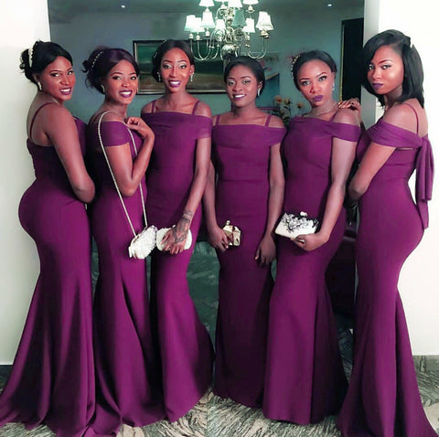 Image of Sexy Off The Shoulder Long Burgundy Mermaid Bridesmaid Dresses