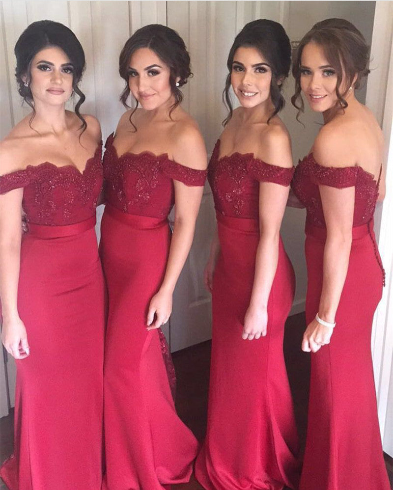 Lace Appliques Off The Shoulder Long Jersey Mermaid Bridesmaid Dresses
