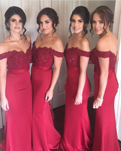 Image of Lace Appliques Off The Shoulder Long Jersey Mermaid Bridesmaid Dresses