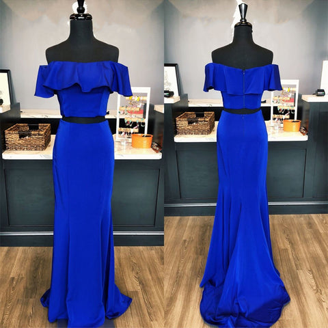 Image of Elegant Ruffle Shoulder Long Satin Mermaid Prom Dresses Two Piece