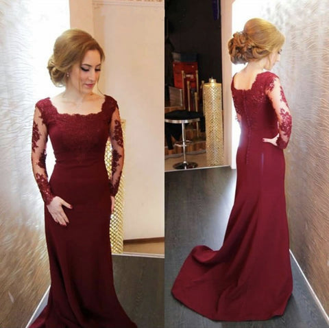 Image of Modest Lace Appliques Long Sleeves Mermaid Prom Dresses