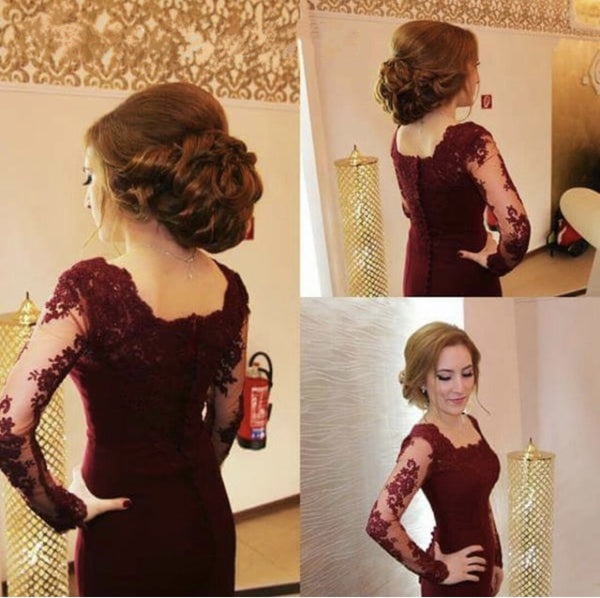 Modest Lace Appliques Long Sleeves Mermaid Prom Dresses