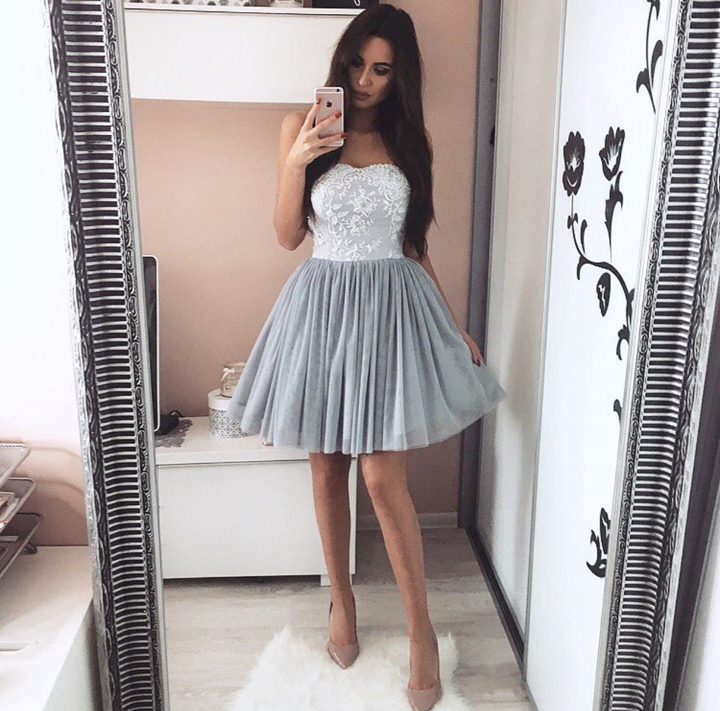 Cute A-line Pleated Tulle Homecoming Dresses Lace Appliques Sweetheart