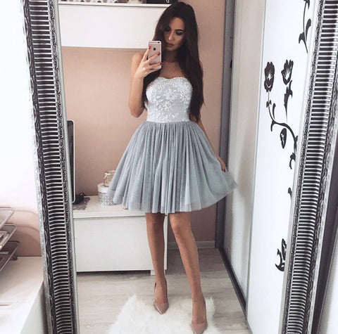Image of Cute A-line Pleated Tulle Homecoming Dresses Lace Appliques Sweetheart