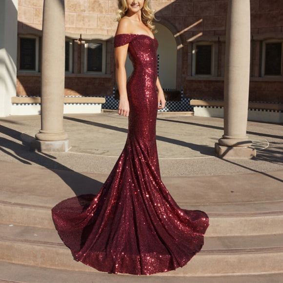 4e863065714 Sparkly Sequin Off The Shoulder Mermaid Evening Dresses 2019 Prom Gowns