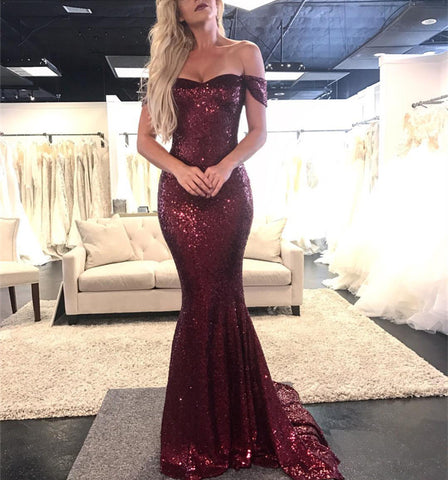 Image of Sparkly Sequin Off The Shoulder Mermaid Evening Dresses 2019 Prom Gowns