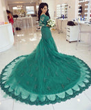 Elegant Long Sleeves V-neck Lace Mermaid Prom Dresses 2018