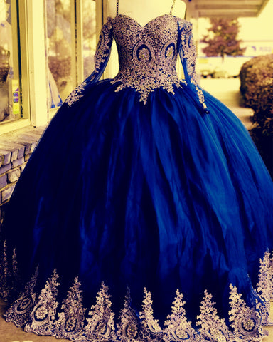 Image of Off Shoulder Long Sleeves Quinceanera Dresses Gold Lace Appliques