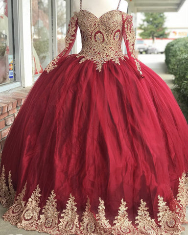 Image of Long-Sleeves-Quinceanera-Dresses-Ball-Gowns-Off-Shoulder