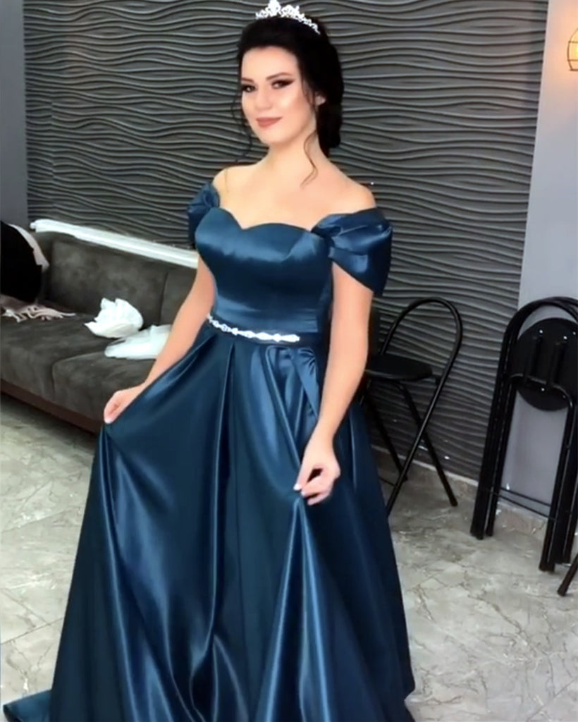 517cb25678 Sweetheart Off Shoulder Long Satin Prom Evening Dresses. Double tap to zoom