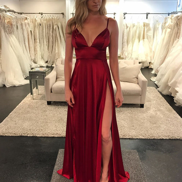Sexy Deep V Neck Long Satin Burgundy Evening Dresses 2017