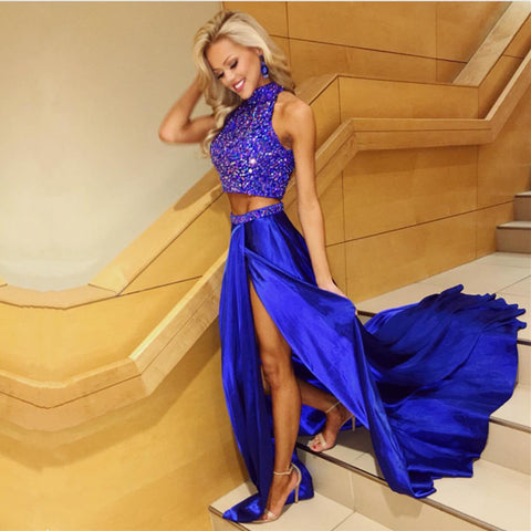 Image of Royal Blue Satin Prom Dress Two Piece With Crystal Beaded