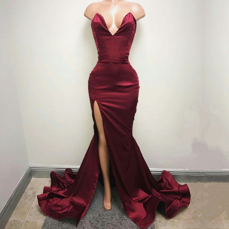 Deep V Neck Long Slit Mermaid Prom Dresses 2017 Sexy