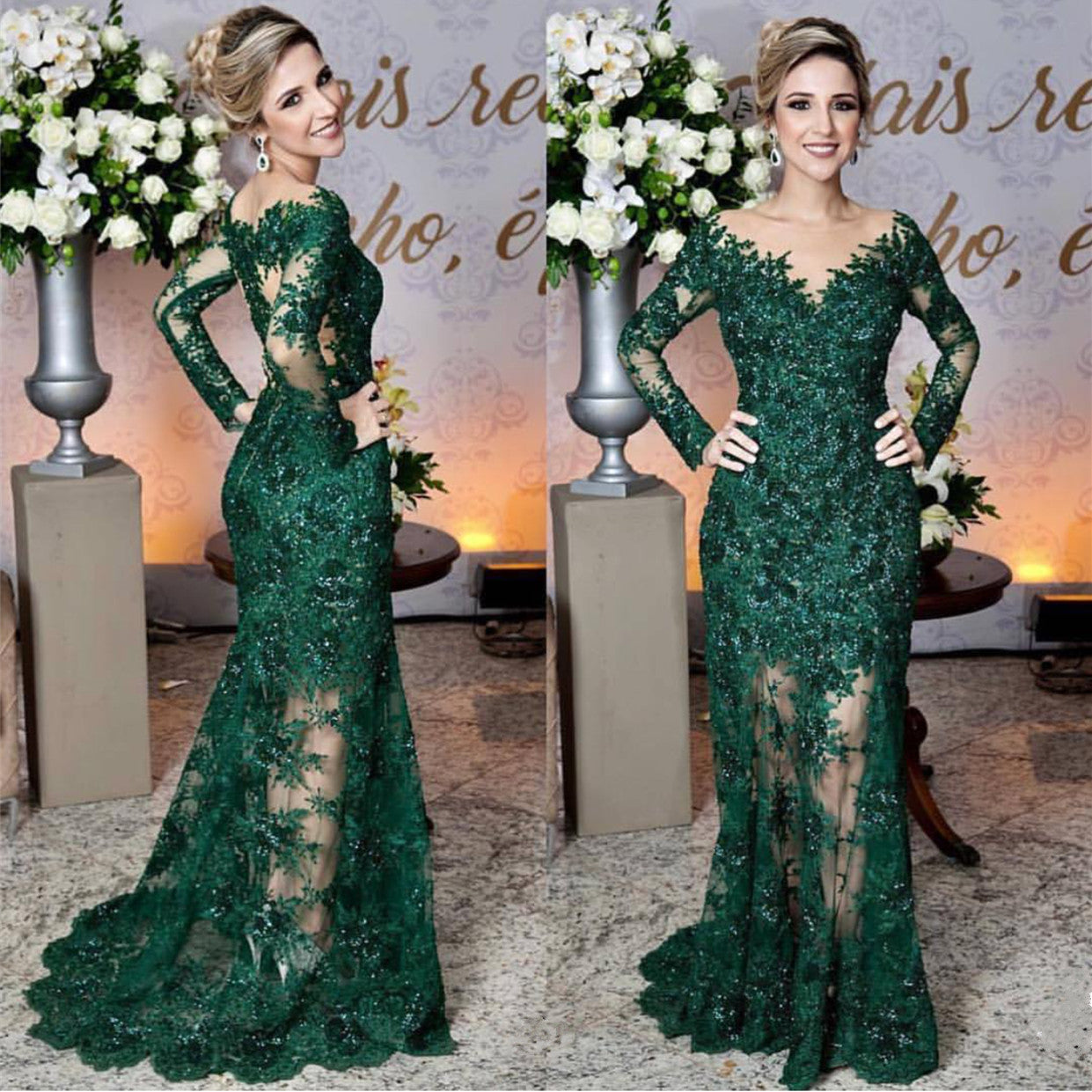 Long Sleeves Lace Mermaid Prom Dresses See Through Evening Gowns ...