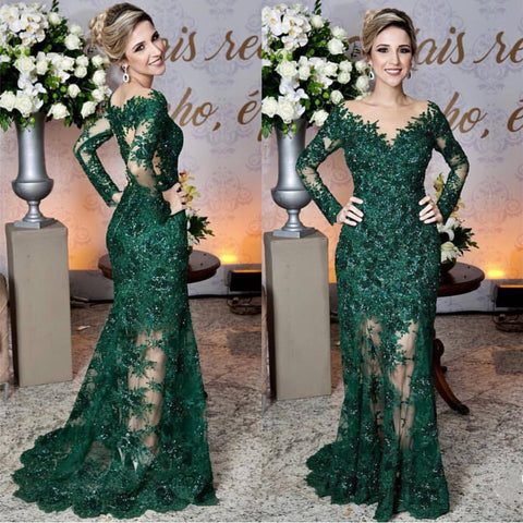 Image of Long Sleeves Lace Mermaid Prom Dresses See Through Evening Gowns 2018