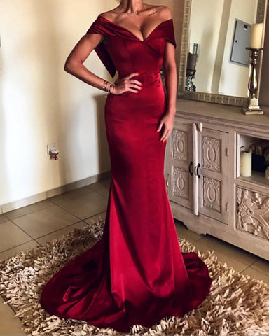 Image of Burgundy-Prom-Dresses-Mermaid-V-neck-Off-The-Shoulder-Evening-Gowns