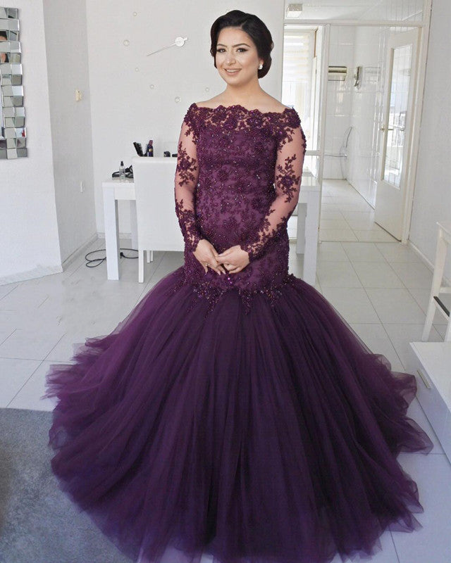 Long Sleeves Lace Mermaid Prom Dresses Plus Size Formal Evening Gowns