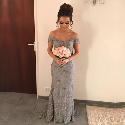 Image of Beaded V-neck Gray Lace Mermaid Evening Dresses Court Train Prom Gowns