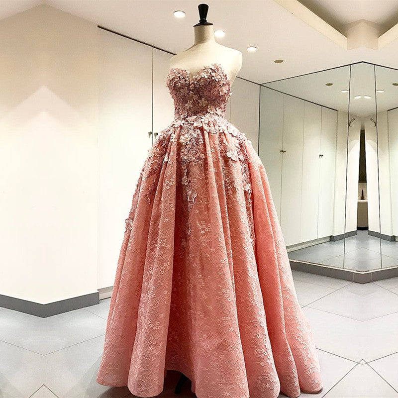 022327c3760 Elegant Handmade Flower Sweetheart Pink Lace Prom Dresses Floor Length Evening  Gowns. Double tap to zoom