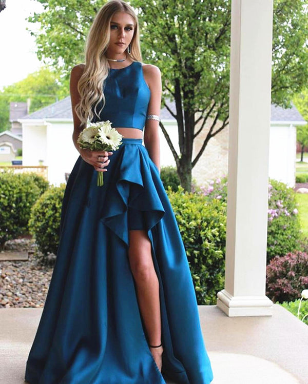 Teal Green Satin Two Piece Prom Dresses 2019