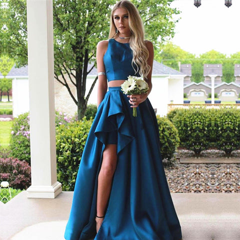 Image of Two Piece Prom Dresses Satin Ruffes Skirt