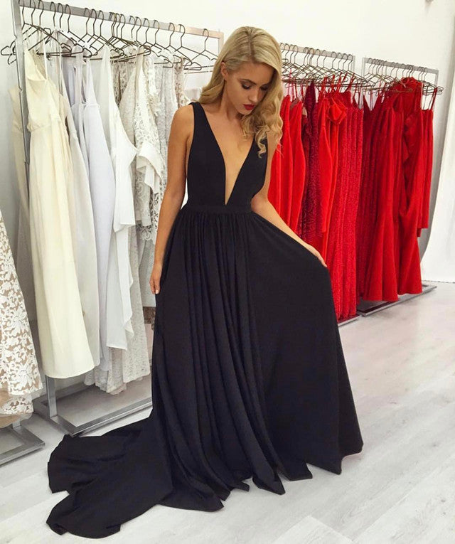 Double tap to zoom · Deep V Neck Long Taffeta Plunge Prom Dresses 2017 Sexy  Long Evening Gowns f94e528f5