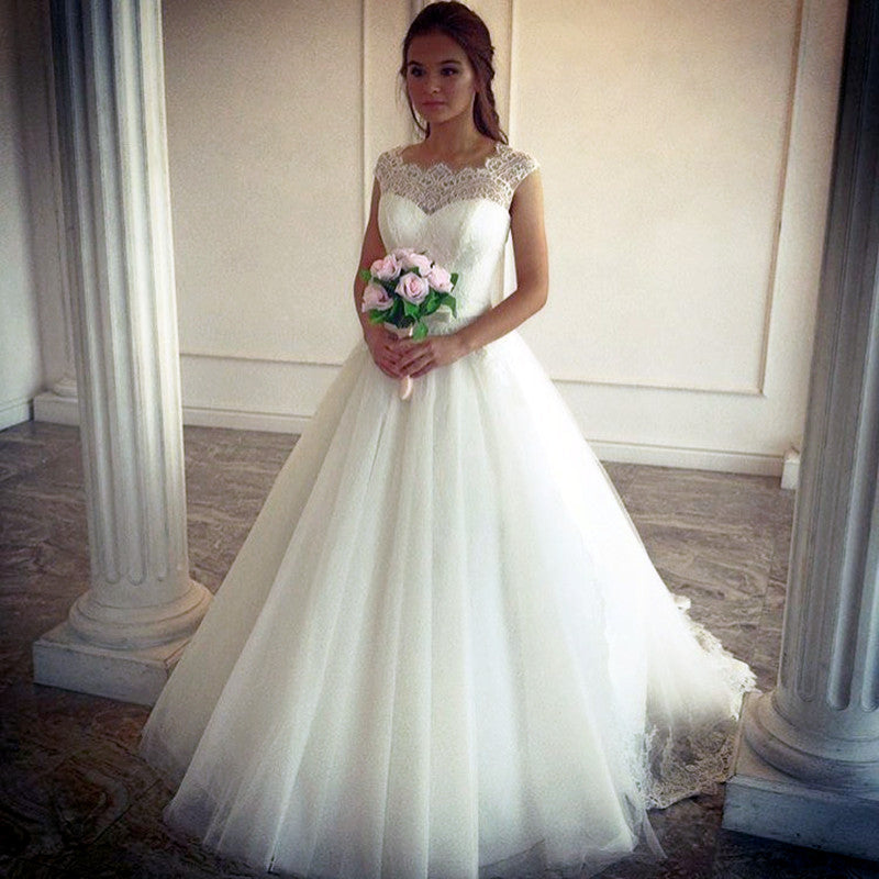 5b3d98ac5e7 Double tap to zoom · Vintage Lace Cap Sleeves Tulle Floor Length Wedding Dresses  A-line