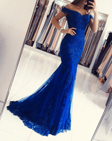 Image of Royal-Blue-Evening-Dresses-Mermaid-Lace-Prom-Gowns-2019
