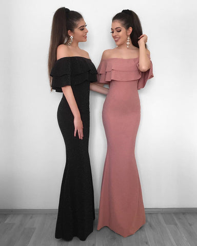 Image of ruffle-sleeves-prom-dress
