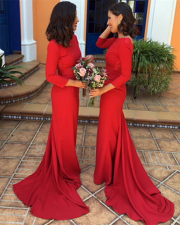 Red-Bridesmaid-Dresses-3/4-Sleeves-Mermaid-Evening-Gowns