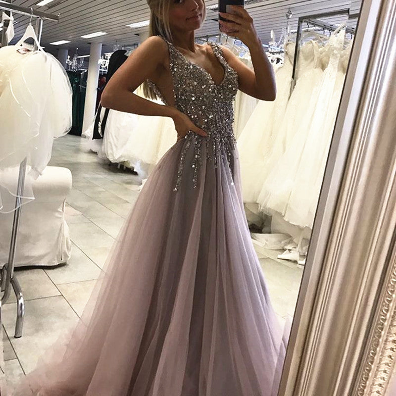 56d48e128cb 2019 Long Tulle Sequins Beaded Prom Evening Dresses Sequin Beaded ...