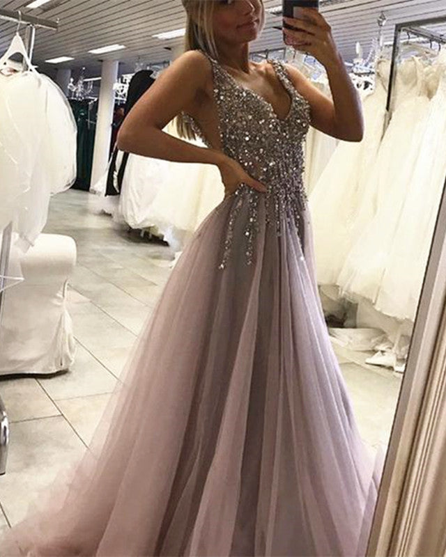 899fb7df 2019 Long Tulle Sequins Beaded Prom Evening Dresses Sequin Beaded ...